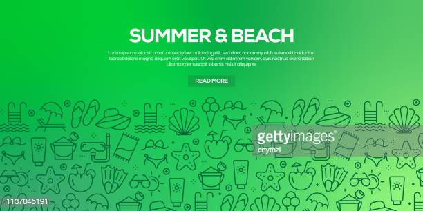 vector set of design templates and elements for summer and beach in trendy linear style - seamless patterns with linear icons related to summer and beach - vector - panoramic stock illustrations