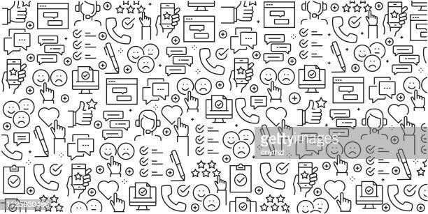 線形アイコンでシームレス パターン関連調査・お客様の声 - ベクトル - トレンディな直線的なスタイルの調査と証言のデザイン テンプレートおよび要素の集合をベクトルします。 - テスティモニアル点のイラスト素材/クリップアート素材/マンガ素材/アイコン素材
