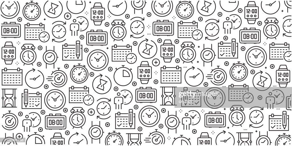 Vector conjunto de modelos de design e elementos de tempo relacionados na moda estilo linear - padrões sem emenda com lineares ícones relacionados com tempo relacionados - vetor : Ilustração