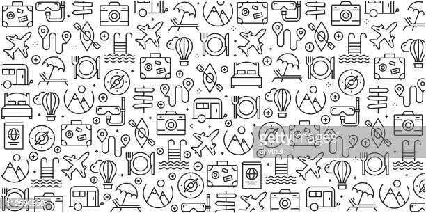 stockillustraties, clipart, cartoons en iconen met vector set van ontwerpsjablonen en elementen voor vakantie- en reisinformatie in trendy lineaire stijl - naadloze patronen met lineaire pictogrammen aan vakantie- en reisinformatie - vector gerelateerde - reizen