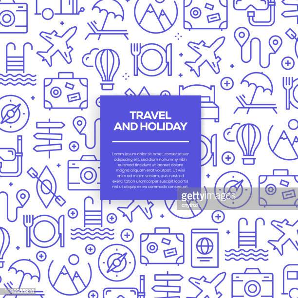 vector set of design templates and elements for travel and holiday in trendy linear style - seamless patterns with linear icons related to travel and holiday - vector - travel stock illustrations