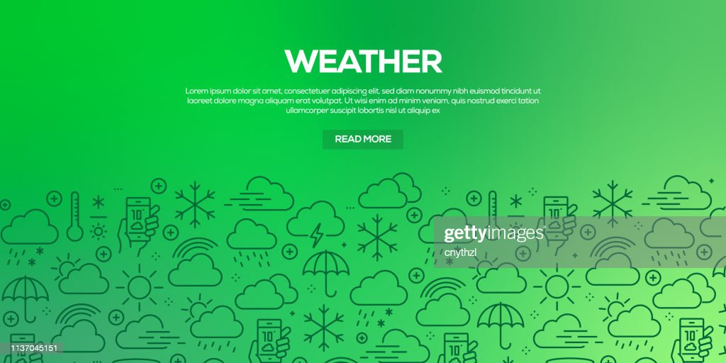 Vector set of design templates and elements for Weather Elements in trendy linear style - Seamless patterns with linear icons related to Weather Elements - Vector : stock illustration