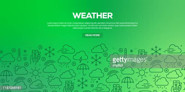 Vector set of design templates and elements for Weather Elements in trendy linear style - Seamless patterns with linear icons related to Weather Elements - Vector