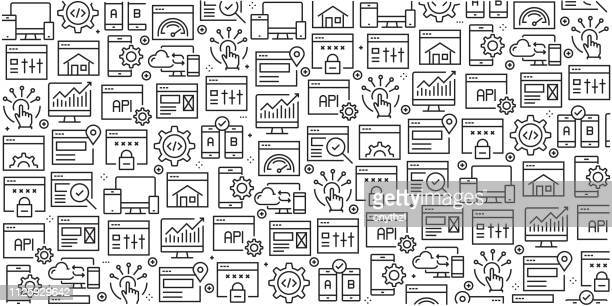 vector set of design templates and elements for web design and development in trendy linear style - seamless patterns with linear icons related to web design and development - vector - html stock illustrations, clip art, cartoons, & icons