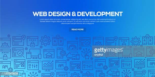 トレンディな線形スタイルの web 設計と開発のためのデザインテンプレートと要素のベクトルセット-ウェブデザインと開発に関連する線形アイコンを持つシームレスなパターン-ベクトル - html点のイラスト素材/クリップアート素材/マンガ素材/アイコン素材