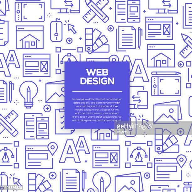 Vector set of design templates and elements for Web Design in trendy linear style - Seamless patterns with linear icons related to Web Design - Vector