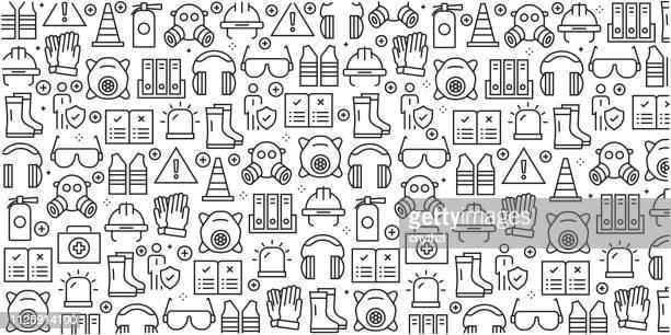 ilustrações, clipart, desenhos animados e ícones de vector conjunto de modelos de design e elementos para a segurança do trabalho em estilo moderno e linear - padrões sem emenda com lineares ícones relacionados à segurança do trabalho - vetor - vestuário de proteção