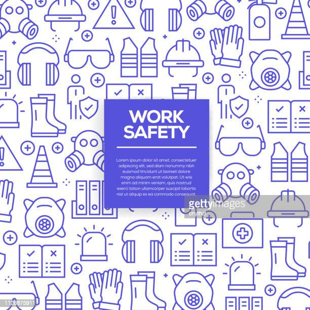 vector set of design templates and elements for work safety in trendy linear style - seamless patterns with linear icons related to work safety - vector - safe stock illustrations