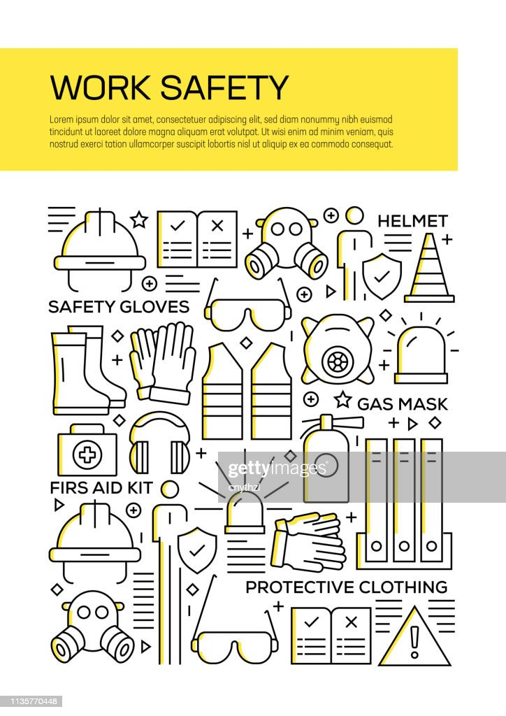 Vector set of design templates and elements for Work Safety in trendy linear style - Seamless patterns with linear icons related to Work Safety - Vector : stock illustration