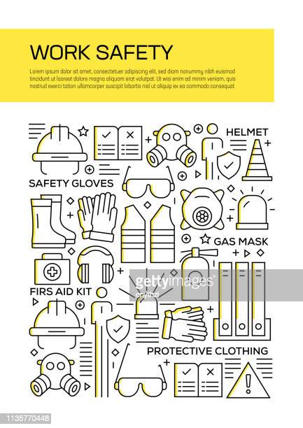 vector set of design templates and elements for work safety in trendy linear style - seamless patterns with linear icons related to work safety - vector - occupational safety and health stock illustrations, clip art, cartoons, & icons