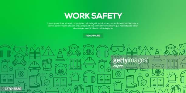 ilustrações, clipart, desenhos animados e ícones de vector o jogo de moldes e de elementos do projeto para a segurança do trabalho no estilo linear na moda-testes padrões sem emenda com os ícones lineares relacionados à segurança do trabalho-vetor - vestuário de proteção
