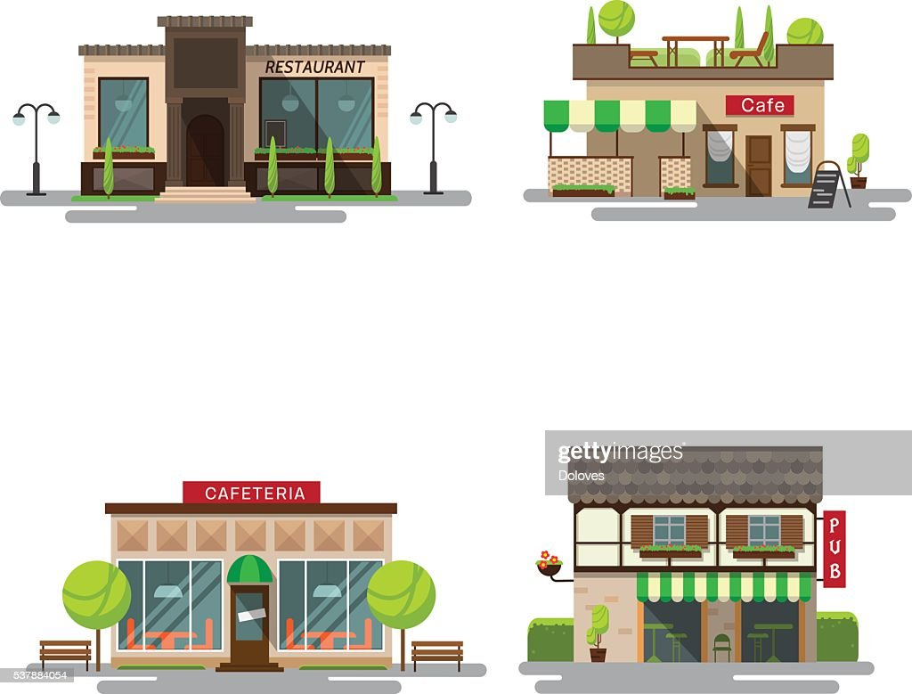 Vector set of detailed flat design city public buildings