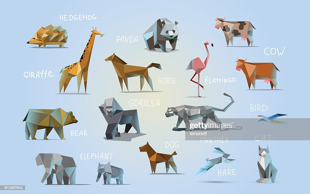 Vector set of different animals, polygonal icons, low poly illustration