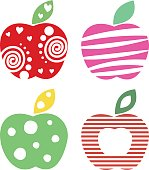Vector set of different fruits illustrations. Decorative ornamental colorful apples isolated on the white background. Series of Fruits Illustrations.