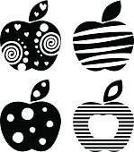 Vector set of different fruits illustrations. Decorative ornamental black and white apples isolated on the white background. Series of Fruits Illustrations.