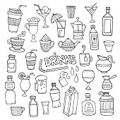 Vector set of different hand drawn beverages