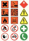 Vector set of different international signs, laboratory associated