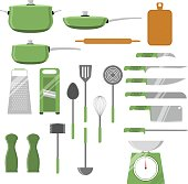 Vector set of different kitchen utensils and tools. Isolated on white background.