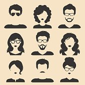 Vector set of different male and female icons in trendy flat style. People heads and faces images collection.