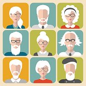 Vector set of different old man and woman with gray hair app icons in flat style.