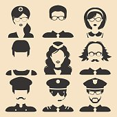 Vector set of different professions male and female icons in flat style. People faces or heads images.
