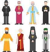 Vector set of different religion people confession man