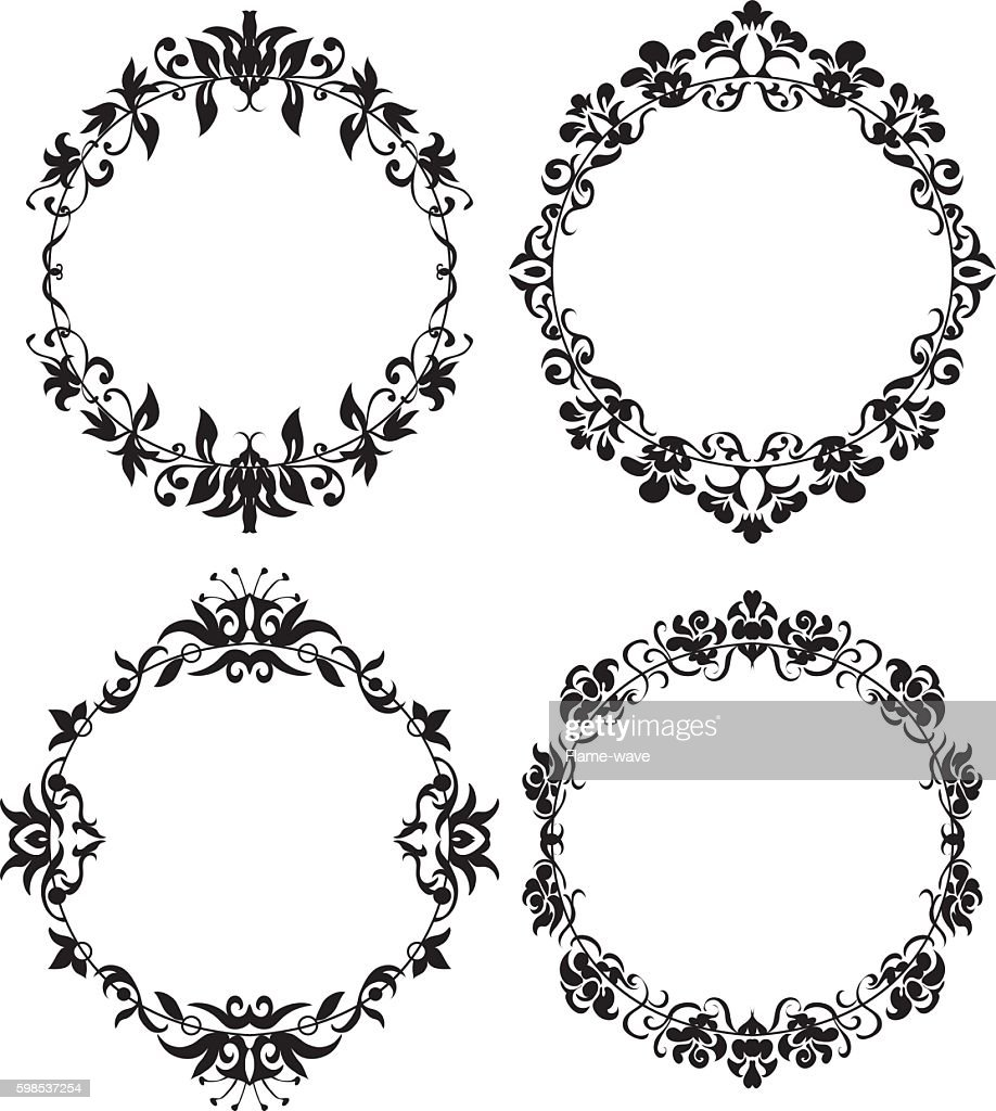 Vector Set of Different Styles Frame Silhouettes