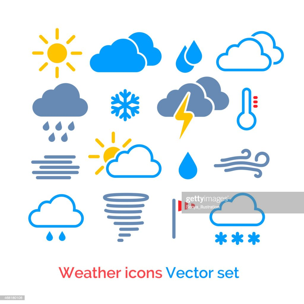 Vector set of different weather icons