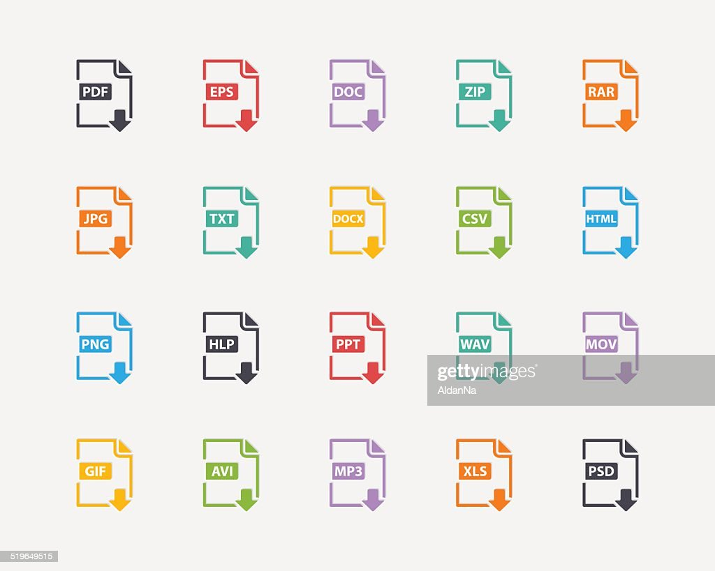 Vector set of Document File Formats and Labels color icons