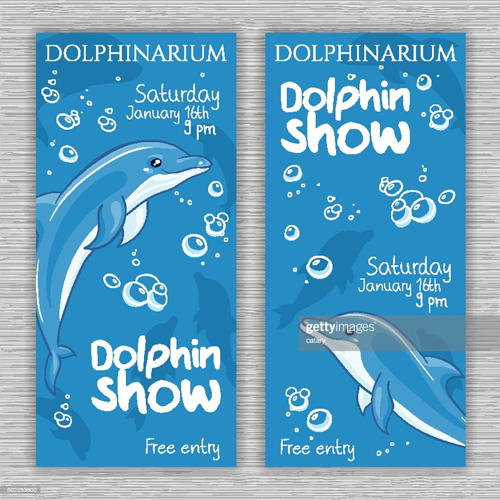 vector set of dolphinarium banner with hand drawn cartoon dolphins