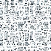 Vector Set of doodle cartoon houses