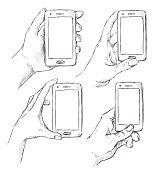 Vector set of doodle hands drawn human holding smart phone