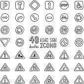 Vector set of doodles road sign icons.