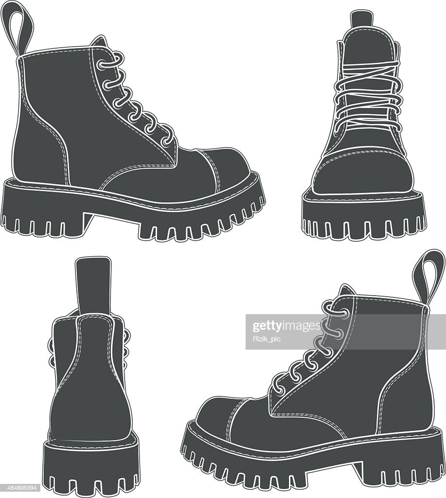 Vector set of drawings with boots.