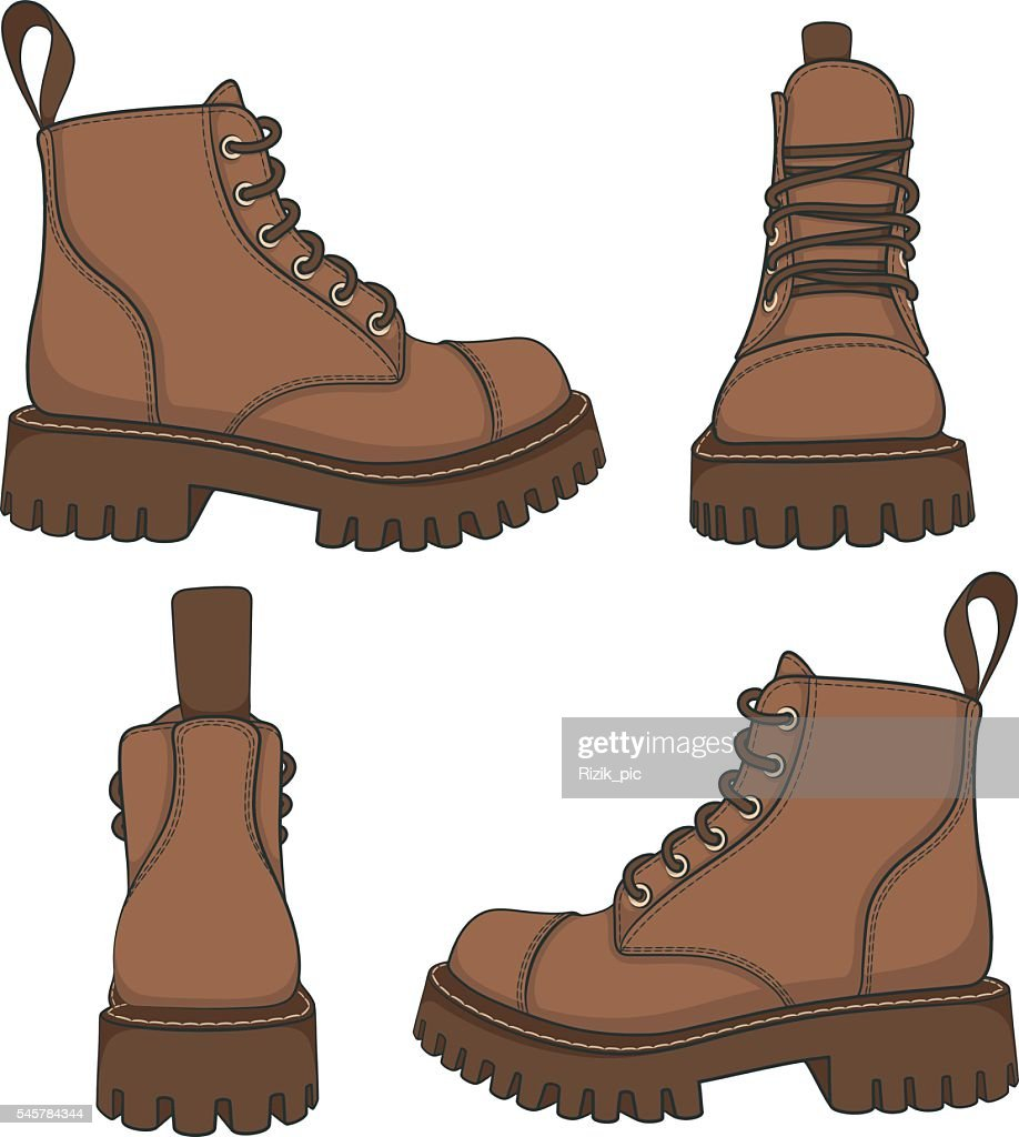Vector set of drawings with brown boots.