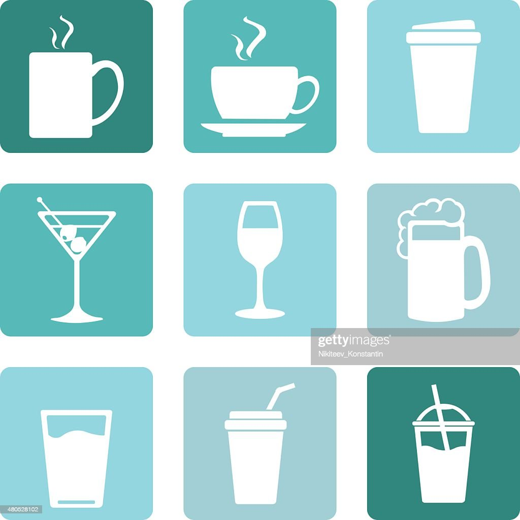 Vector Set of Drinks Icons : Vector Art