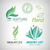 Vector set of eco icons, logos. Healthy man