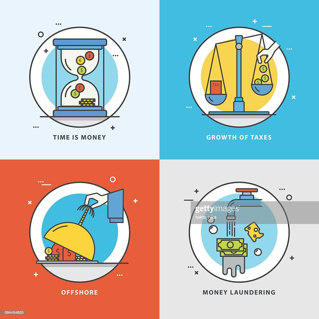 Vector set of economic icons with popular problems and phrasing