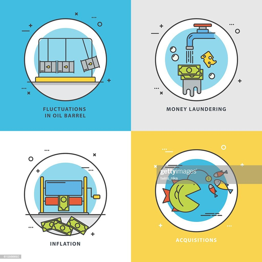 Vector set of economic icons with popular problems: fluctuations on