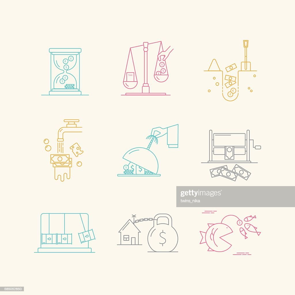 Vector set of economic icons with popular problems.