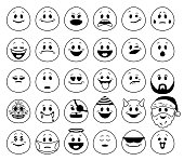 Vector set of emoticons in outline style
