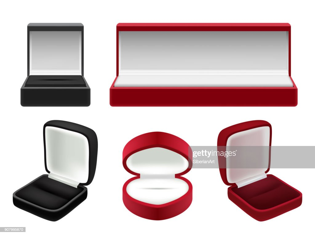 Vector set of empty red and black velvet opened jewelry boxes
