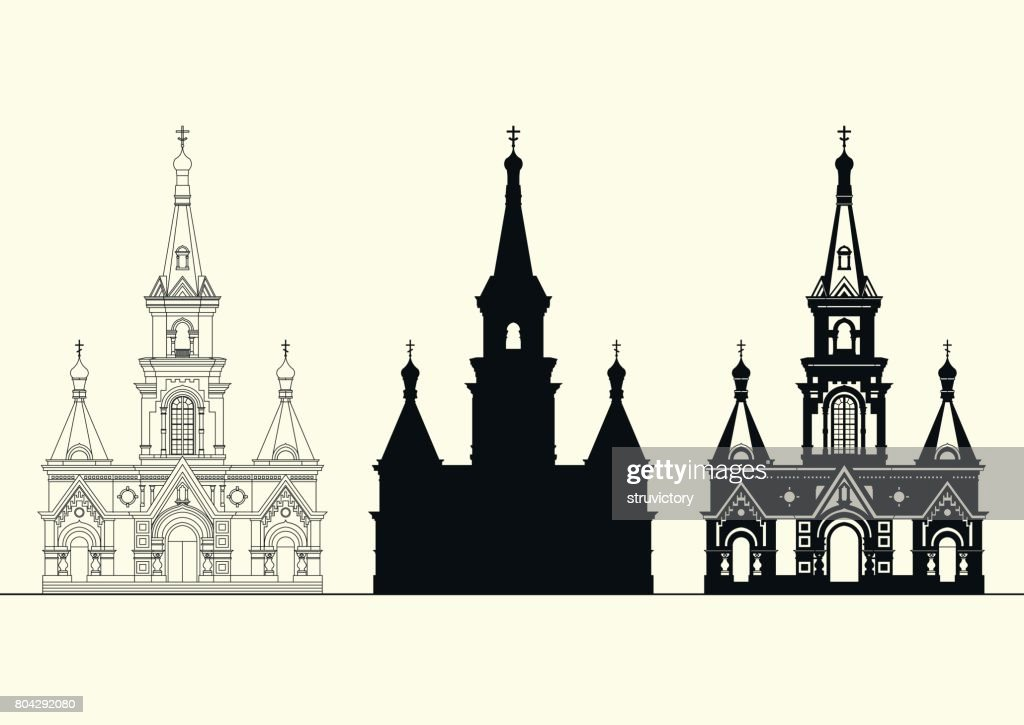 Vector set of facades of an old Orthodox church.
