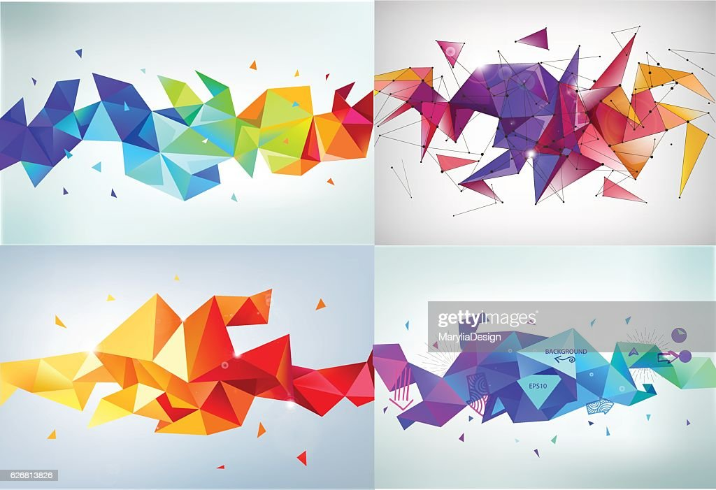 Vector set of faceted 3d crystal colorful shapes, banners.   ,