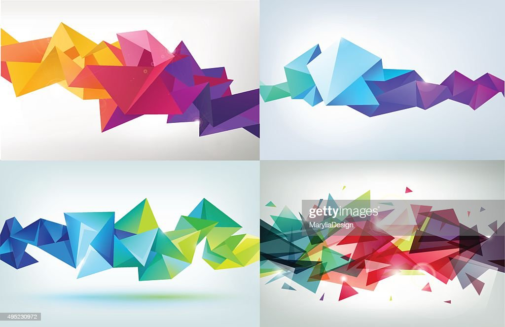 Vector set of faceted 3d crystal colorful shapes