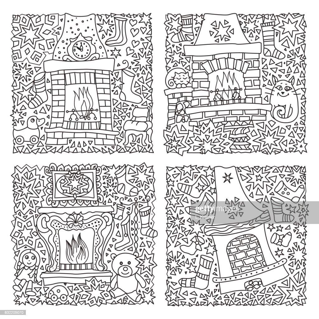 Kleurplaten Voor Volwassenen Kerstmis.Vector Set Fantasie Illustratie Sprookje Huis Haard Met Kous Voor