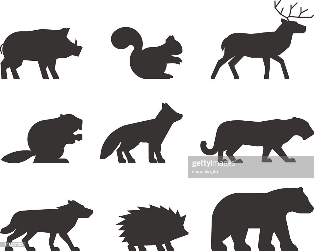 Vector set of figures of wild animals.