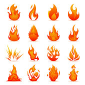 Vector set of fire and flame icons. Colorful Flames in the Flat Style. Simple, Icons Bonfire