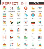 Vector set of flat Baby care, toy, clothes and feeding icons.