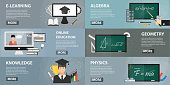 Vector set of flat banners of education for websites. Concept of online education, private lessons and studying. Collection of school elements in flat design.
